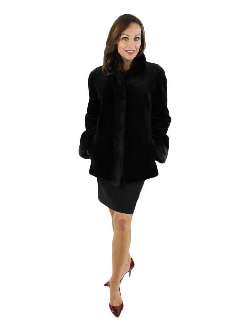 Sheared Mink Fur & Leather Jacket