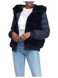 Gorski Woman's Navy Rex Rabbit Fur Jacket with Detachable Sleeves
