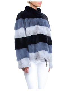 Gorski Woman's Navy Mink Fur Jacket