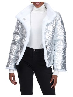 Gorski Woman's White Mink Fur Jacket Reversible to Metalic Quilted Technical Fabric