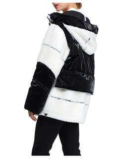 Gorski Woman's Black and White Shearling Lamb Parka