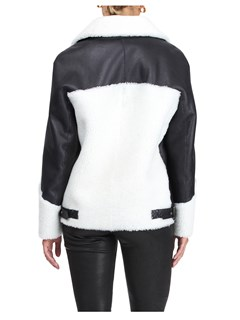 Gorski Woman's Black and White Shearling Lamb Jacket