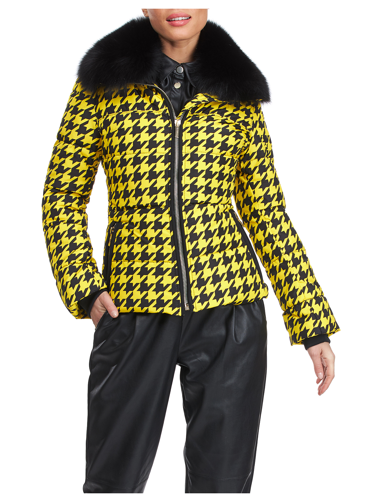 Gorski Woman's Apres-Ski Yellow and Black Houndstooth Jacket with Detachable Fox Fur Collar