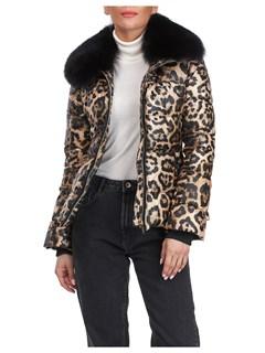 Gorski Woman's Apres-ski Leopard Print  Jacket with Detachable Fox Fur Collar