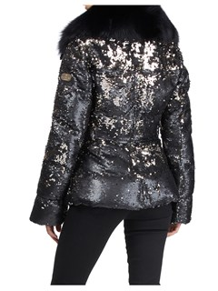 Gorski Woman's Black Apres-Ski Jacket with Detachable Fox Fur Collar