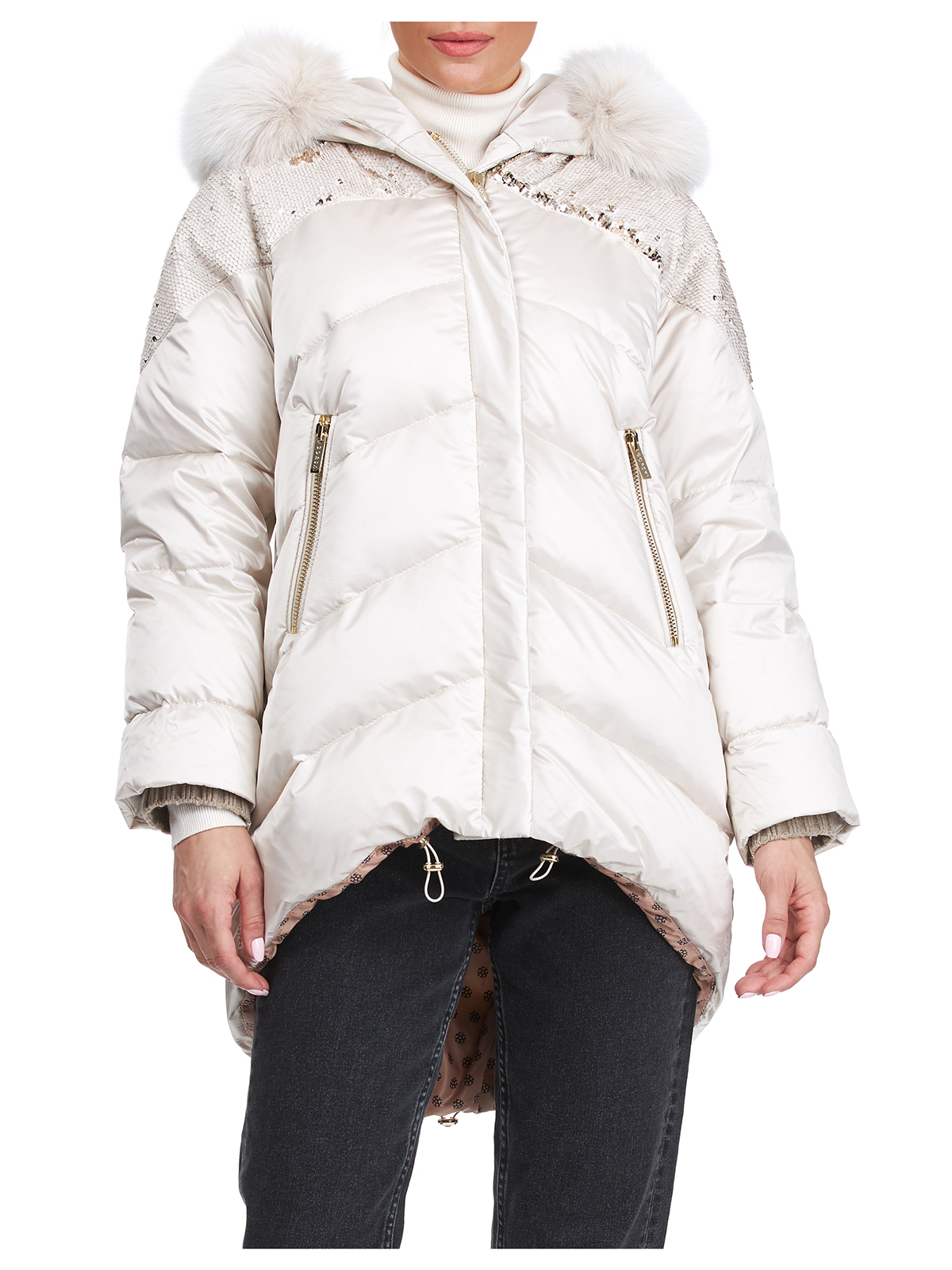 Gorski Woman's Beige Apres-Ski Jacket with Detachable Fox Fur Hood