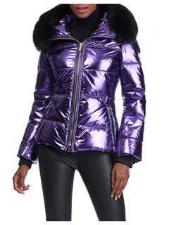 Gorski Woman's Purple Rainbow Apres-Ski Jacket with Detachable Fox Fur Collar