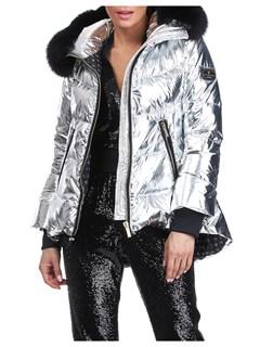 Gorski Woman's Silver Rainbow Shiny Technical Fabrick with Detachable Fox Fur Trimmed Hood