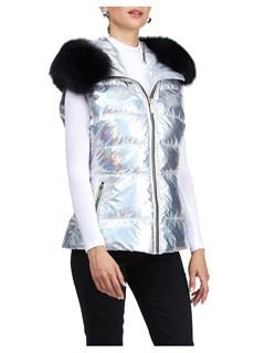 Gorski Woman's Silver Rainbow Apres-Ski Vest with Detachable Fox Fur Trimmed Hood