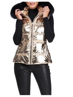 Gorski Woman's Gold Rainbow Apres-Ski Vest with Detachable Fox Fur Trimmed Hood