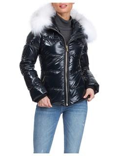 Gorski Woman's Black Apres-Ski Shiny Technical Fabric with Detachable Fox Fur Trimmed Hood