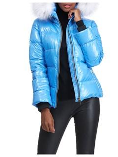 Gorski Woman's Blue Apres-Ski Shiny Technical Fabric with Detachable Fox Fur Trimmed Hood