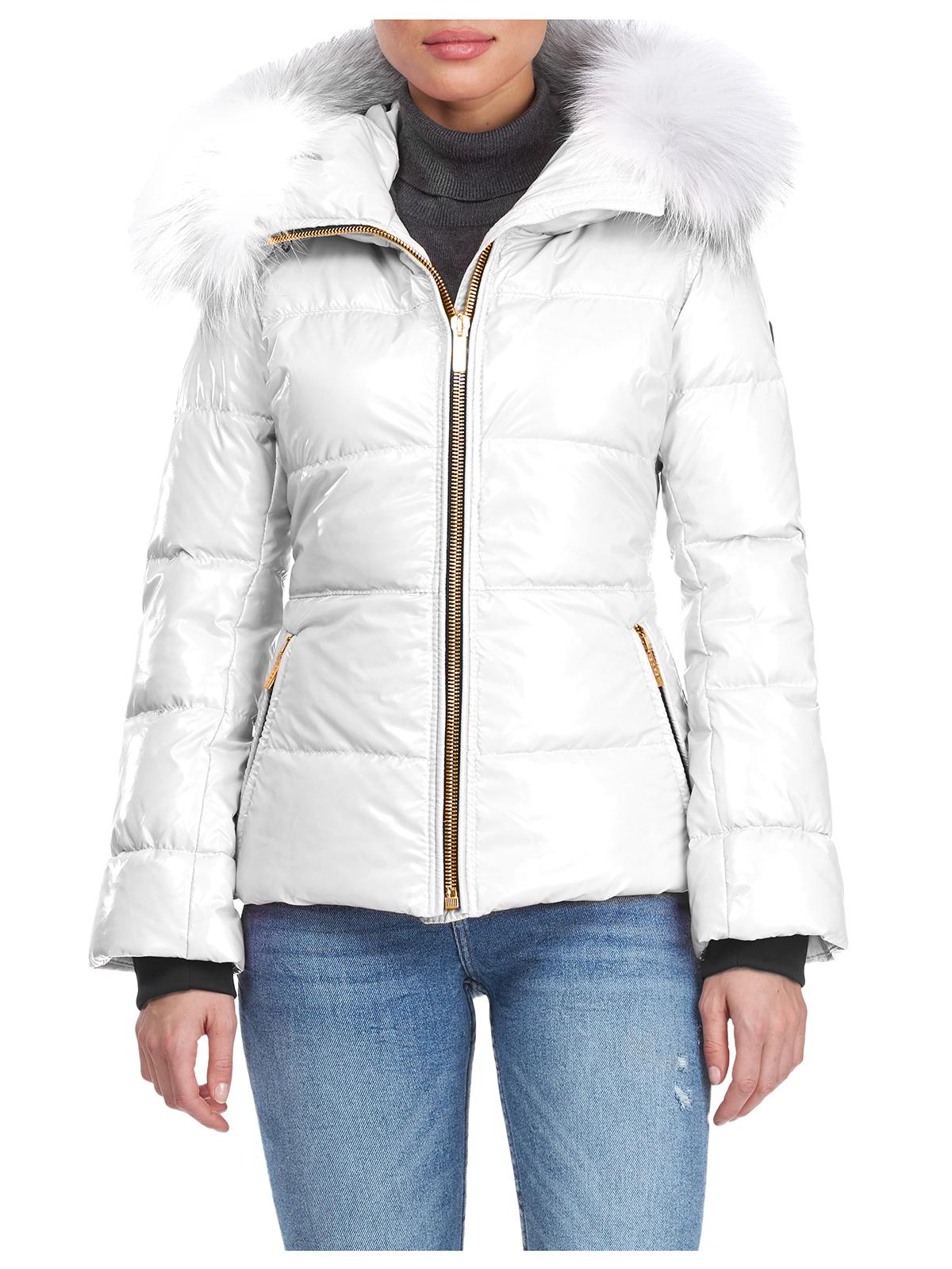 Gorski Woman's White Apres-Ski Shiny Technical Fabric with Detachable Fox Fur Trimmed Hood