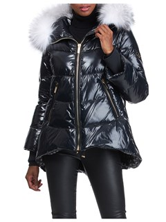 Gorski Woman's Black Apres-Ski Jacket with Detachable Fox Trimmed Hood