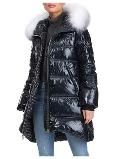 Gorski Woman's Black Quilted Apres-ski Jacke with Detachable Fox Fur Trimmed Hood
