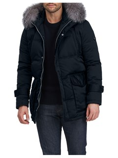 Gorski Men's Navy Apres-Ski Parka with Detachable Fox Fur Trimmed Hood