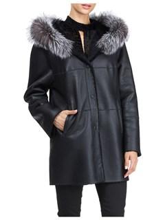 Gorski Woman's Black and Silver Shearling Lamb Fur Jacket