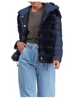 Gorski Woman's Dark Blue Rex Rabbit Fur Stroller