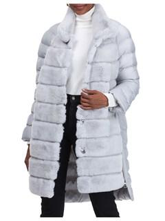 Gorski Woman's Ice Gray Rex Rabbit Fur Stroller