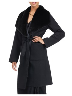 Gorski Woman's Black Loro Piana Wool/Cashmere Coat with Mink Fur Shawl Collar