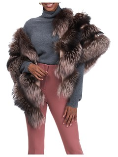 Gorski Woman's Pink Silver Fox Fur Stole