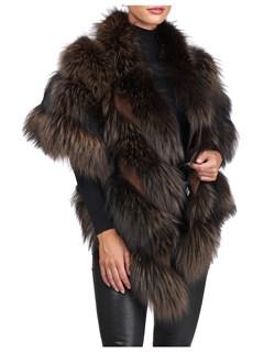 Gorski Woman's Brown Silver Fox Fur Stole