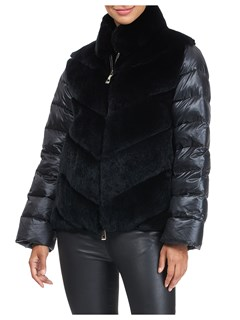Gorski Woman's Black Rex Rabbit Fur Jacket