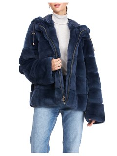 Gorski Woman's Navy Rex Rabbit Fur Jacket Reversible to Quilted Down