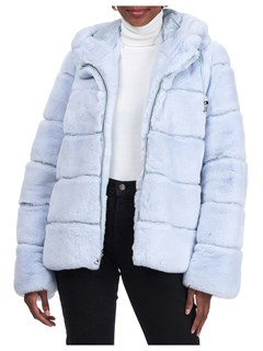 Gorski Woman's Sky Blue Rex Rabbit Fur Jacket Reversible to Quilted Down