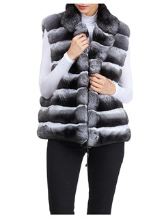 Gorski Woman's Gray Chinchilla Fur Vest