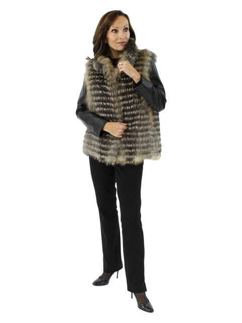 Woman's Gorski Cross Fox Fur Jacket