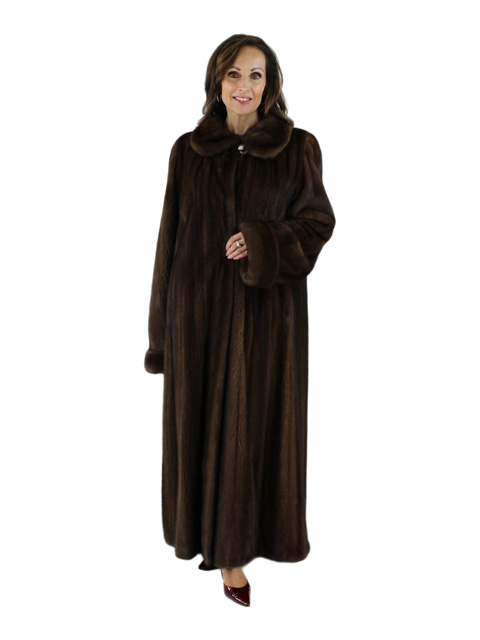 Gorski Woman's Scan Brown Full Length Mink Fur Coat
