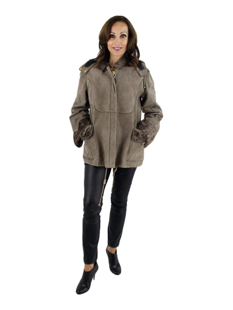Woman's Petite Rizal Hooded Taupe Chevraux Lamb Jacket