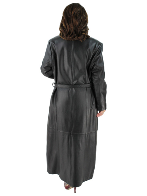 Full Length Belted Leather Coat