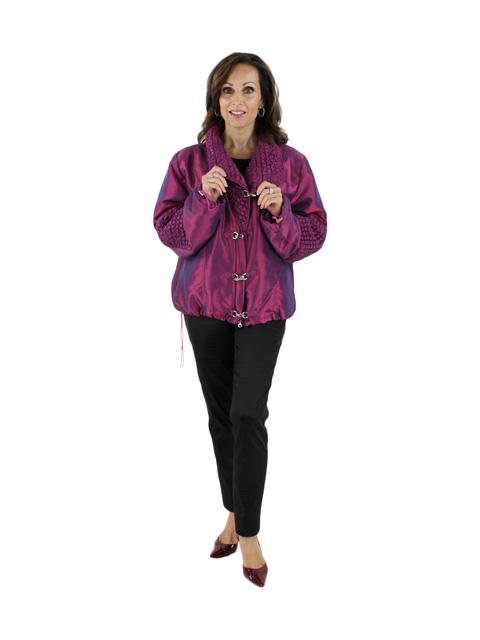Woman's Raspberry Fabric Jacket
