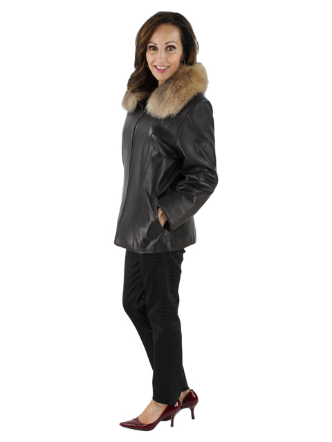 Leather Jacket w/ Crystal Fox Fur Trim