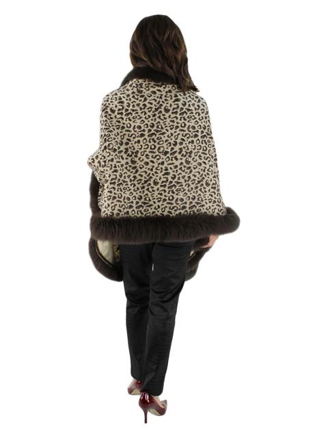 Animal Print Cashmere w/ Fox Fur Trim