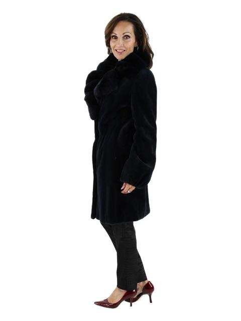 Sheared Mink Fur Stroller w/ Matching Chinchilla Trim