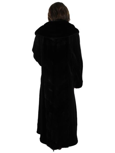 Full Length Sheared Mink Fur Coat w/ Diagonal Trim