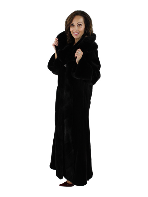 New York Gala Stunning Full Length Black Sheared Mink Coat with ...