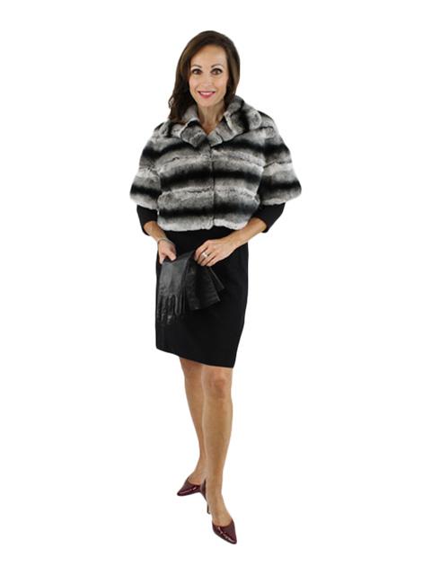 Gorski Woman's Grey Chinchilla Dyed Rex Rabbit Fur Jacket