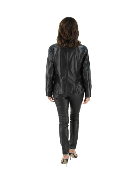 Leather Jacket Reversible to Fabric