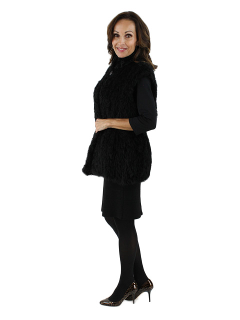 Day to Evening Designer Black Kalgan Lamb Vest (Adjustable Waist)