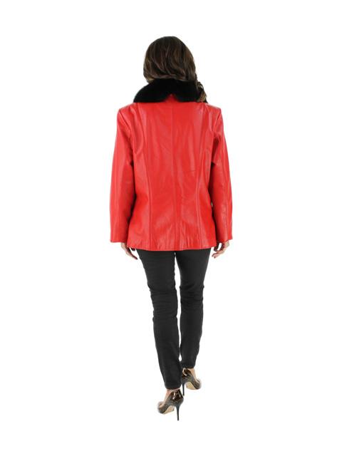 Leather Jacket w/ Black Fox Collar