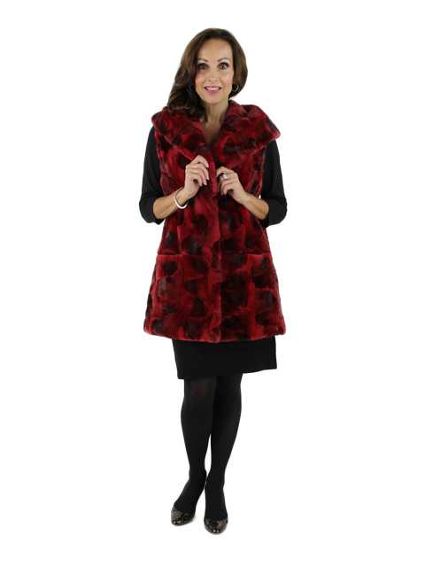 Woman's Cherry Red Animal Print Sheared Mink Hooded Vest