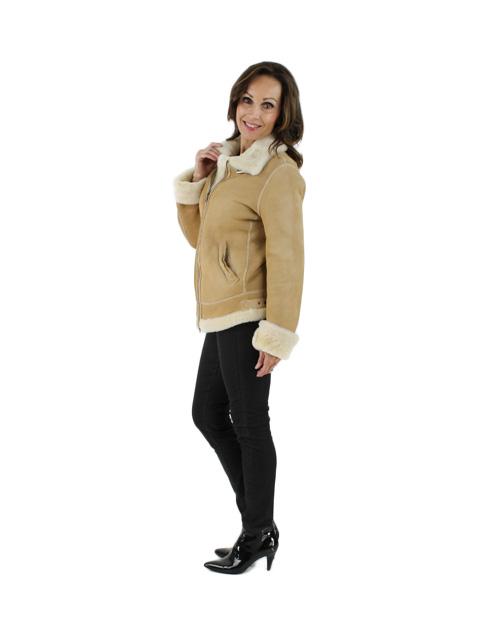 Chamois Fur Shearling Lamb Jacket w/ Front Pockets
