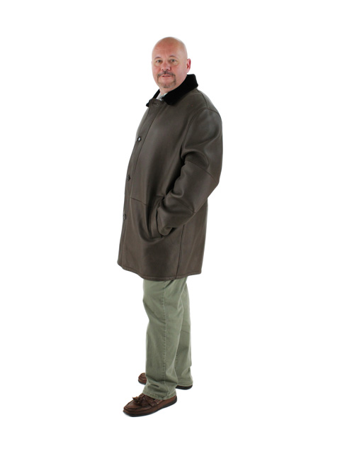Brown Slate Shearling Coat Ironed with Deep Brown Ironed Fleece