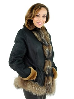 Woman's Black and Tan Shearling Lamb Jacket