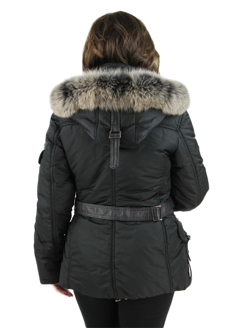 Italian Ski Jacket w/ Fox Fur Trimmed Hood and Leather Details