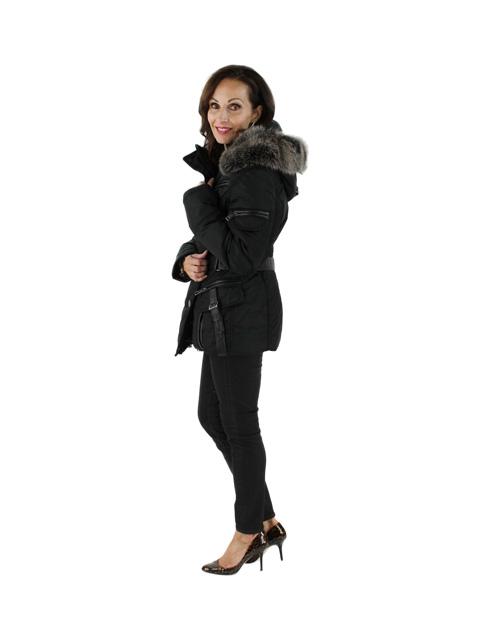 Apres Ski Jacket w/ Fox Trimmed Hood & Leather Details